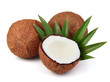 Sweet coconut with leaf
