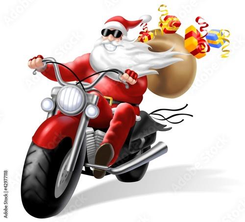 Poster Motorfiets babbo natale motorizzato