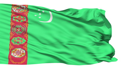Waving national flag of Turkmenistan