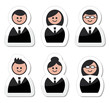 Business people icons set - labels