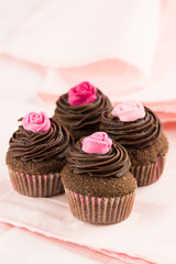 Chocolate cupcakes with roses