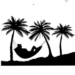 Silhouette of girl of hammock under the palm trees on beach