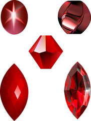 A collection of Red Gems and Beads