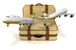 airliners and suitcases on white background