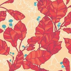 яркий бесшовный узор с красными осенними листьями