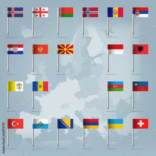 21 european countries over european map