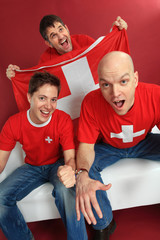 Cheering Swiss sports fans