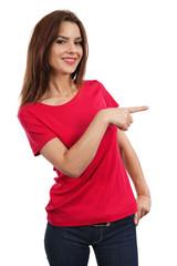 Brunette female pointing