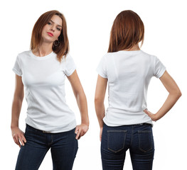 Sexy female wearing blank white shirt