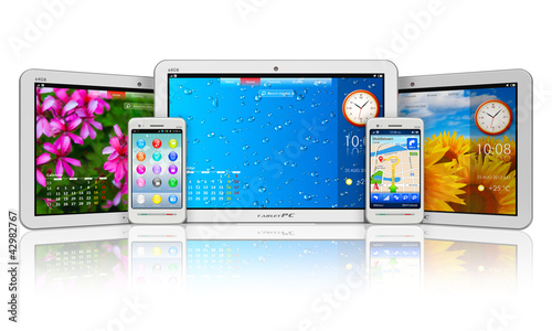 Set of tablet computers and smartphones