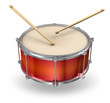 canvas print picture - Red drum with drumsticks