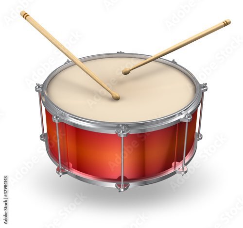 canvas print picture Red drum with drumsticks