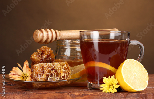 honey, lemon, honeycomb and a cup of tea