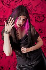 Grieving punk woman