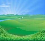 Fototapety Rural landscape illustration