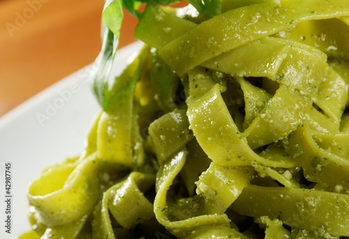 Tagliatelle pasta with pesto