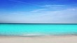 Formentera turquoise beach white sand and blue summer sky