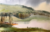 Fototapety Watercolor painting landscape