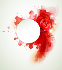 Abstract background with rose and red elements