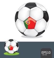 soccer ball  portugal euro flag vector