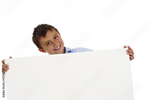 boy holding a white board