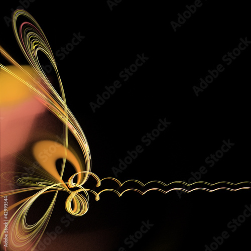 Staande foto Fractal waves Abstract frame with golden spirals over black background