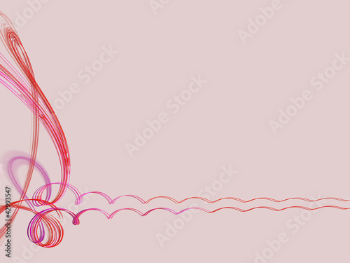Staande foto Fractal waves Abstract frame with red spirals and swirls over pink background
