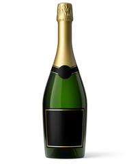 Bouteille de champagne sur fond blanc 2