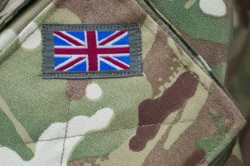 British army camouflage uniform with union jack flag