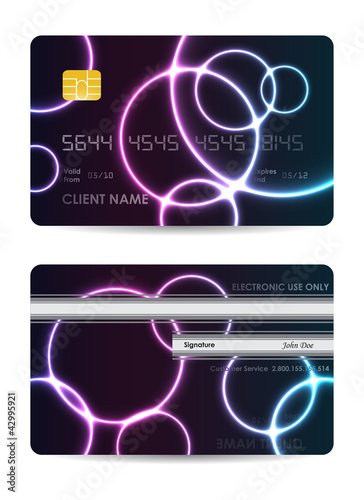 Realistic vector credit card, front and back view