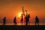 Fototapety silhouette beach volleyball
