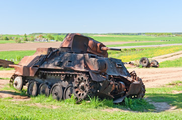 WWII battle tank wreck