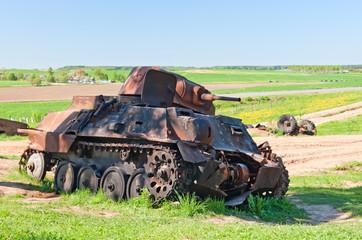 WWII battle tank wreck