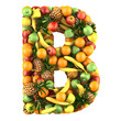 Letter - B made of fruits. Isolated on a white.