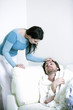 A woman caring for her ill boyfriend