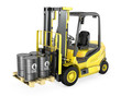 Yellow fork lift lifts four oil barrels