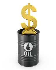 Barrel of oil full of dollar signs