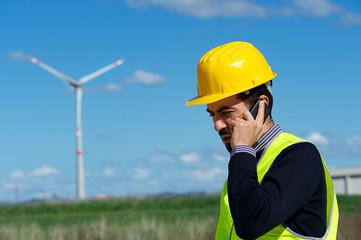 Technician Engineer in Wind Turbine Power Generator talk at phon