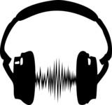 Fototapety Kopfhörer Audio Welle Frequenz Musik Sillhouette