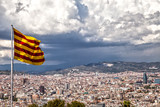 Catalan flag on the background of Barcelona