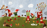 Fototapety Acrylic illustration of the cute kids - dwarfs dancing in the fa