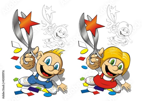 Boy and girl with scissors