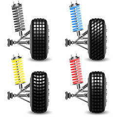 Set front car suspension, frontal view. Vector Illustration
