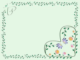 Frame with hearts and color flowers with leaves green illustrati