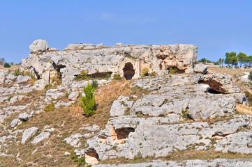 Palaeolithic caves. Matera. Basilicata. Italy.