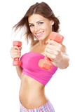 Fototapety Beautiful slim woman with dumbbells