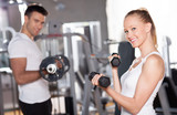 Fototapety Couple working out with dumbbells