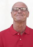 serene aging man smiling poster