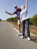 dynamic mature couple hitchhiking poster