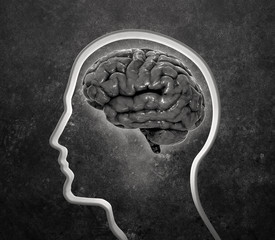 face silhouette with a brain inside
